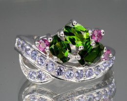Natural Tanzanite, Chrome Diopside & Rhodolite Silver Ring Unique Design