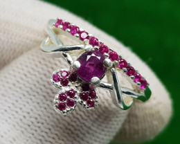 Natural Purple Sapphire Silver Ring (AD)