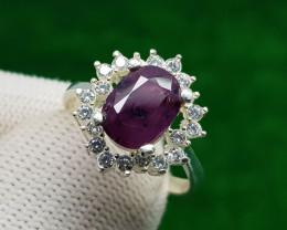 Natural Purple Opaque Corundum Silver Ring (AD)