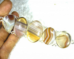 272.5 Tcw. African Agate / Sterling Silver Bracelet - Gorgeous
