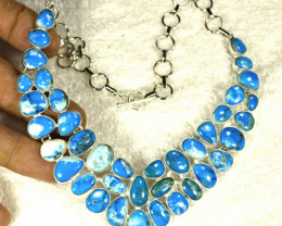 369.0 Tcw. Arizona Turquoise / Sterling Silver Necklace - Gorgeous
