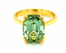 Mint Green Tourmaline 6.90ct Solid 14K Yellow Gold Ring