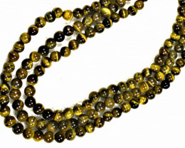 830.5 Tcw. Three Strand China Tiger Eye Necklace - Gorgeous