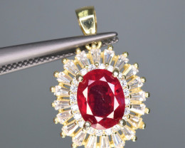 Attractive Natural Ruby, CZ & 925 Yellow Fancy Sterling Silver Pendant