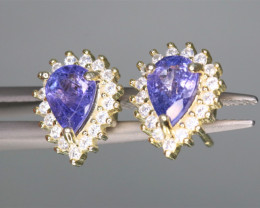 Attractive Natural Tanzanite, CZ & 925 Yellow Fancy Sterling Silver Earring