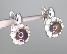 Beautiful Natural Fire Opal, CZ & 925 Sterling Silver Fancy Earring