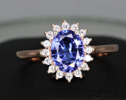 Gorgeous Natural Tanzanite, CZ & 925 Rose Gold Fancy Sterling Ring