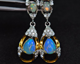 Natural Top Fire Opal ,CZ 925 Silver &Yellow Gold Plating Silver  Earrings