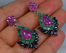Natural 14Emerald , 8Ruby ,11Sapphire 925 Silver top Earrings