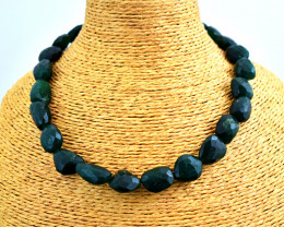 """Genuine Jade Faceted Beads Necklace of 18"""""""