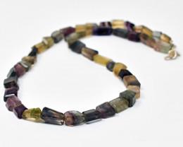 "Genuine Multicolor Fluorite Beads Necklace of 20"""