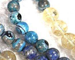 925.5 Tcw. Citrine, Lapis, Peruvian Opal Necklace and Bracelet Set