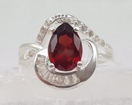 Natural Red Rhodolite Garnet 24.50 Carats 925 Silver Ring