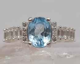 Natural Blue Topaz 22.00 Carats 925 Silver Ring