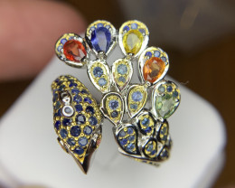 Peacock Natural Rainbow Sapphire Ring