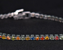Natural Worthy Attractive 51 Pieces Multi Sapphire 925 Silver Bracelet