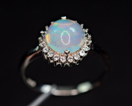 Natural AAA Multi Fire Opal Cabochon ,CZ 925 Silver Amazing Design Ring