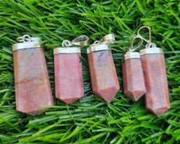Natural Rhodonite 925 Silver Pendants