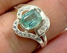 Natural 2.00 carats paraiba tourmaline  925 Silver Ring