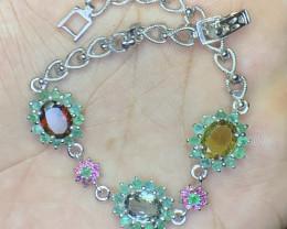 Natural Tourmaline, Emerald and sapphire Bracelet.