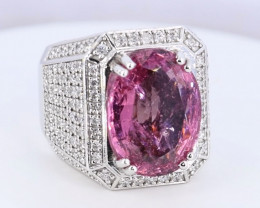 Marvelous Spinel and Diamond in 18K Gold Ring Size:8.5