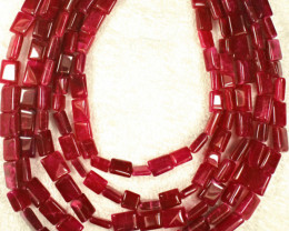 640.0 Tcw. Five Strand Color Enhanced Ruby Necklace - Gorgeous
