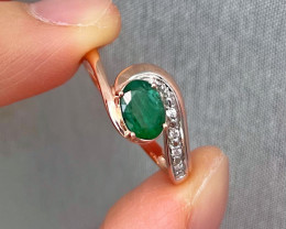 Natural Zambian Emerald Pink Gold Over Sterling Silver 3