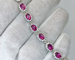 Attractive Natural Pink Topaz With CZ 925 Silver Bracelet
