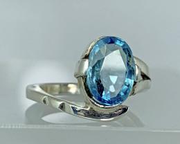 Natural 20.00 Carats Rare Blue Zircon ( Cambolite) 925 Silver Ring.