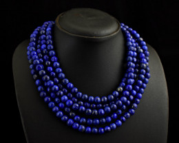 Genuine 5 Line Lapis Lazuli Beads Necklace