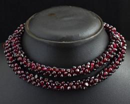 "Genuine Red Garnet Beads Necklace 26"""