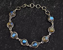 "Genuine .925 Sterling Silver Labradorite Bracelet of 6"""
