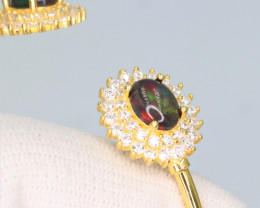 Attractive Natural Black Fire Opal, CZ &  Fancy 925 Yellow Stylish  Sterlin