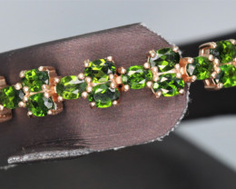 Attractive Natural Chrome Diopside & 925 Rose Gold Fancy Silver Bracelet