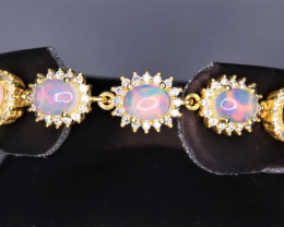 Gorgeous Natural Fire Opal, CZ & Fancy 925 Yellow Sterling  Silver Bracelet