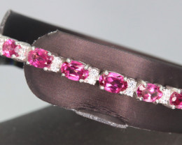 Gorgeous Natural Pink Topaz, CZ & 925 Fancy Silver Bracelet