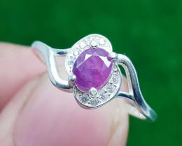 Natural Purple  Corundum 925 Sterling Silver Ring