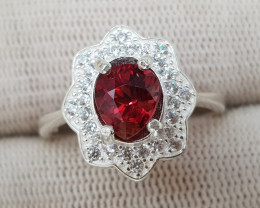 Natural Red Rhodolite Garnet 19.10 Carats 925 Silver Ring