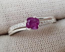 Natural Kashmir Sapphire 9.60 Carats 925 Silver Ring