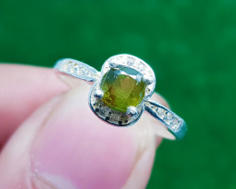 Natural Green Fire Sphene Titanite Silver Ring (AD)