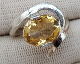 Natural Yellow Citrine 21.70 Carats 925 Silver Ring