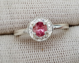 Natural Rubellite Tourmaline 9.50 Carats 925 Silver Ring