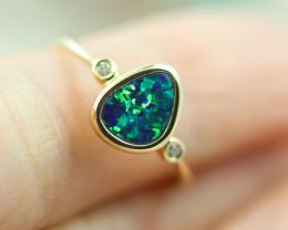 Doublet  Opal set in14 k White Gold Ring  CK 612