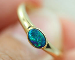 Doublet  Opal set in 14 k Yellow Gold Ring  CK 613