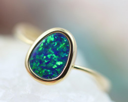 Doublet  Opal set in14 k Yellow Gold Ring  CK 614