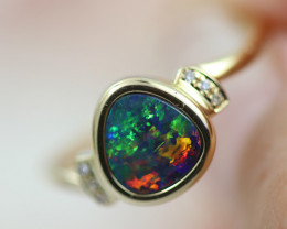 Doublet  Opal set in14 k Yellow Gold Ring  CK 615