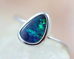 Doublet  Opal set in14 k White Gold Ring  CK 616
