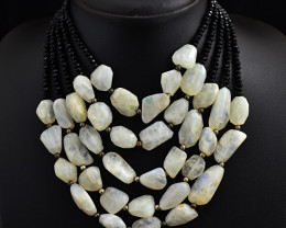 Genuine 5 Line Faceted Spinel & Moonstone Beads Necklace