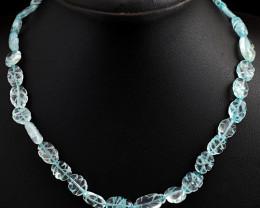 "Genuine Aquamarine  Beads Necklace Of 20"""