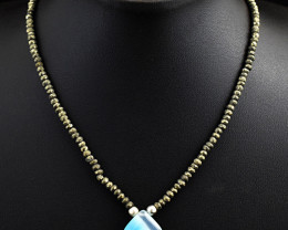 """Genuine Pyrite  & Onyx  Beads Necklace Of 20"""""""